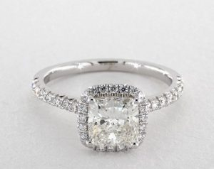 1.20 CARAT CUSHION MODIFIED CUT HALO ENGAGEMENT RING IN 14K WHITE GOLD