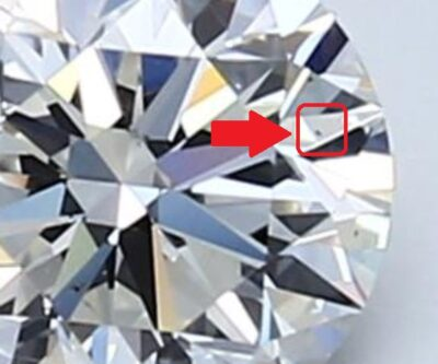Pinpoint inclusion on diamond - Blue Nile