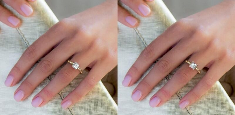 1 Carat Round & Princess actual size on hand