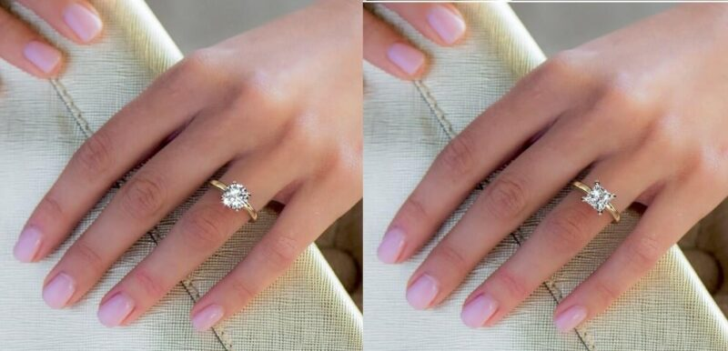 2 Carat Round & Princess actual size on hand