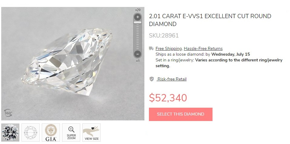Expensive 2 carats diamond