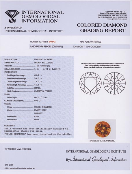 IGI Colored Diamond Report